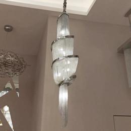 $enCountryForm.capitalKeyWord Australia - New luxury chain tassel pendant lamp LED gold silver customizable aluminum spiral lamps hand-woven Decorative lamp