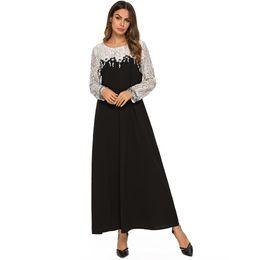 $enCountryForm.capitalKeyWord UK - Abaya Dubai Lace Stitching Large Size Dress Arabic Islam Turkey Muslim Womens Printed Dress Islamic Long Maxi