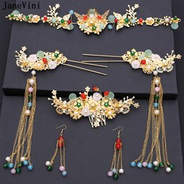 Vintage Woman Costume Australia - JaneVini Vintage Chinese Bridal Headdress Costume Gold Butterfly Hairpin Wedding Crown Earrings Women Jewelry Hair Accessories