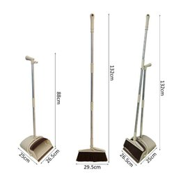 venda por atacado Rotativo vassoura e pá dobrável Set, Long Handle Dustpan, varredura extensível Set, poeira Pan e vassoura Combo Artefato pe U