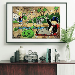 TradiTional home decoraTion online shopping - Money Pool by Alec Monopoly Paintings On Star Canvas Wars Modern Art Poster Decorative Wall Pictures Home Decoration