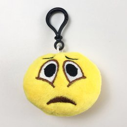 funny phone holders UK - Trend Cartoon Emoticon Funny Pendant Key Chain Plush Expression Smiley Mobile Phone Pendant Accessories PP Cotton Children's Toy Plush Doll