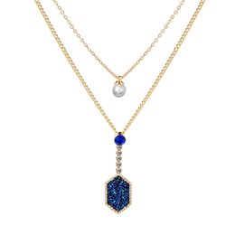 China Fashion Kendra Style Druzy Necklace Gold Plated Geometry Faux Natural Stone Women Brand Jewelry For Wedding Party cheap druzy pendants natural suppliers