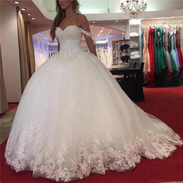 simple elegant vintage lace wedding dresses NZ - Elegant Off Shoulder Ball Gown Wedding Dresses Vintage Sweetheart Beaded White Tulle Custom Made Lace Wedding Gown Corset Backless Bridal Go