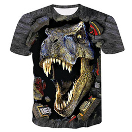 Discount green dinosaur shorts - 2019 new Brand Summer dinosaur 3D animal Printed T-shirt Men Short Sleeve T-shirt S-4XL plus size tops & tees