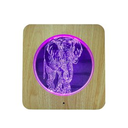 $enCountryForm.capitalKeyWord UK - Wooden Carving Acrylic 3D Lamp LED Elephant 3D Night Light 7 Colors Animal Elephant for Home Decoration Lamps Best Gift for Child...