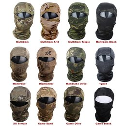 Discount tactical helmet face mask - Multicam CP Camouflage Full Face Mask Wargame Cycling Hunting Army Bike Helmet Liner Tactical Cap Breathable