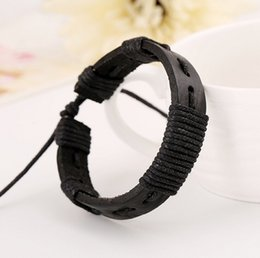 Wear Bracelet Australia - European Street Hip Hop Young Wear Real Cowhide Genuine Leather Manual Live Weave Black Bracelet Long-term For
