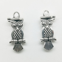 Ancient Silver Owl Australia - 50pcs Lot Dr. Owl Alloy Charms Pendant Retro Jewelry Making DIY Keychain Ancient Silver Pendant For Bracelet Earrings Necklace 21*9mm