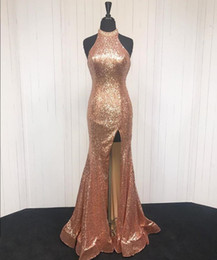 $enCountryForm.capitalKeyWord Australia - Real Photo Rose Gold Halter Pageant Prom Dresses 2019 Sequins High Split Backless Crystal Long Cheap Celebrity Evening Formal Gown Dress