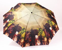 umbrella paintings Australia - Fully Automatic Rain Umbrella Three Folding Oil Painting Umbrella Waterproof Wind Resistant Sombrinhas De Qualidade