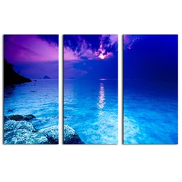 Chinese  3 Picture Combination canvas wall art Fantasy Purple Sunset Beach Painting The Picture Print On Canvas landscape For Home Decor manufacturers