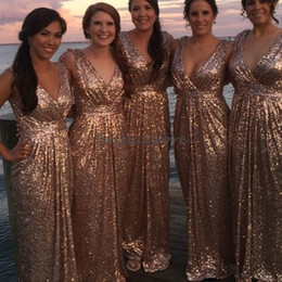 beach wedding dresses short deep v 2019 - Sparking Rose Gold Sequins Bridesmaid Dresses Deep V Neck Pleated Full Length Flare Country Maid Of Honor Beach Wedding