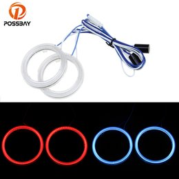 Discount blue ring headlights - POSSBAY Car LED Halo Ring Red Green Ice Blue Purple 60 70 80 85 90 95 100 110mm Led COB Angel Eyes Headlight For Cars Mo