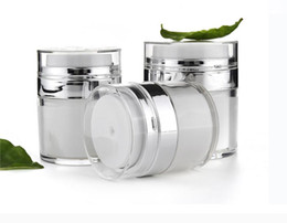 Acrylic cosmetic jAr white online shopping - 15 G Pearl White Acrylic Airless Jar Cream Jar With Silver Collar ML Cosmetic Vacuum Lotion Jar Pump Bottle SN2614