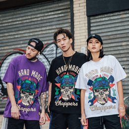 Black Shirt Loose Skull Australia - American street skull print hip hop short sleeve men and women trend loose t-shirt men's 2019 spring