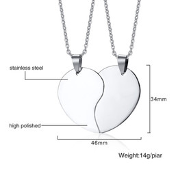 b466f36937 Fashion Jewelry Personalized Classic Solid Heart Necklace For Men Women  Couple Stainless Steel Love Pendant Necklace Set Free Engraving