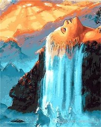 $enCountryForm.capitalKeyWord Australia - White Hair Waterfall 16x20 inches DIY Paint On Canvas drawing By Numbers Kits Art Acrylic Oil Painting Frame For Adult Teen