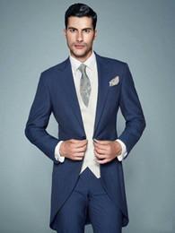 Tails Suit Australia - Navy Blue Tail Coat Long Men Suit for Wedding Suit Men Blazer Jacket Classic Slim Fit Tuxedo 3 Piece Suit With Pants Vest