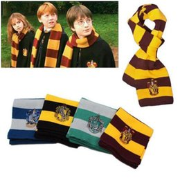 Discount harry potter badges - New Fashion 4 Colors College Scarf Harry Potter Gryffindor Series Scarf With Badge Cosplay Knit Scarves Halloween Costum