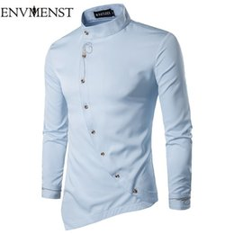 $enCountryForm.capitalKeyWord NZ - Envmenst 2017 New Men's Long Sleeve Slim Shirt Male Stand Collar Irregular Clothing Solid Color Embroidery Design Casual Shirts Y190506