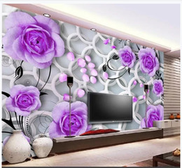 $enCountryForm.capitalKeyWord Australia - Custom photo wallpaper 3D murals wallpaper Purple Rose, Flower Circle Fashion Living Room mural 3D TV Background Wall papers
