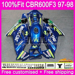 1998 cbr f3 fairings NZ - Injection For HONDA CBR600 F3 FS CBR600FS CBR 600 F3 97 78HM.34 CBR 600F3 CBR600RR CBR600F3 97 98 1997 1998 Movistar Blue 100% Fit Fairings