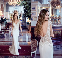 V neckline mermaid wedding dress online shopping - Designed Mermaid Wedding Dresses Sheer Cap Sleeve V Cut Backless With Buttons Plunging Neckline Applique Bridal Gowns With Court Train