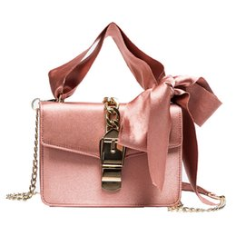 Phone Chain Color Australia - Messenger Bags Women Bowknot Chains Flap Bag Ladies Fashion Solid Color Hasp Shoulder Bags Female Shopping Phone Bag Girl