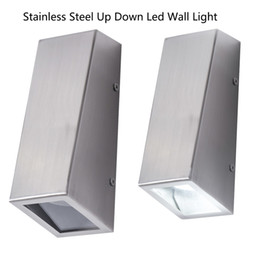 Steel Porch Australia - Up DownLED sconce wall lamp 304 stainless steel Decorative lighting for home led wall mounted Porch light with GU10 spot light