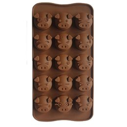 silicone soap mould maker UK - Pig Shaped Cake Molds 15 Holes Chocolate Mould Silicone Soap Candy Fondant Molds Ice Mold