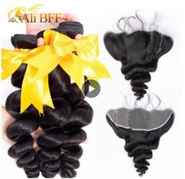 bouncy wave hair NZ - Malaysian Loose Wave Bundles With Frontal Closure Remy Human Hair Bundles With Frontal Closure Bouncy Curl Dyeable