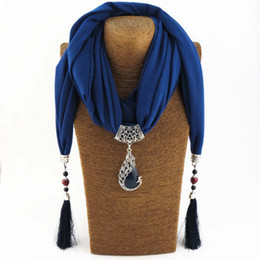 natural stone tassel necklaces UK - eacock pendant KMVEXO Vintage Scarf Necklace Natural Stone Peacock Pendant for Women Fringe Tassel Necklaces 2018 New Statement Jewelry B...