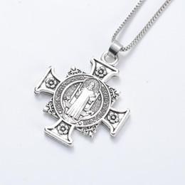 Antique Crucifix Pendant NZ - Quis Et Dues Saint Michael Cross Silver Medal Antique Silver Pendant Necklaces N1729 24inches Traditional Large Crucifix Pendant Necklaces