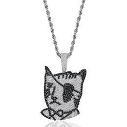 $enCountryForm.capitalKeyWord NZ - Pirate one-eyed cat Pendants Designer Necklace Mens Hip Hop Jewelry 18K Gold Plated Summer Fashion Gold Necklaces