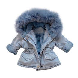 fleece sleeve faux leather jacket NZ - baby Gilrs winter Jacket Kids jacket Toddler Kids Baby Girls Hooded Faux Fur Fleece Warm Thick Denim Coat Outwear Baby Clothes