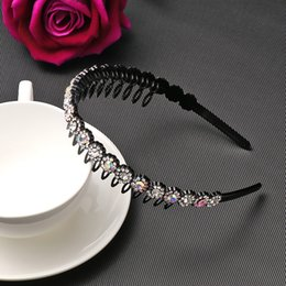 Wholesale Korean style Colorful Rhinestone Flower Hair Hoop Headband Hairband for Women Girls Beauty Hair Band Accessories