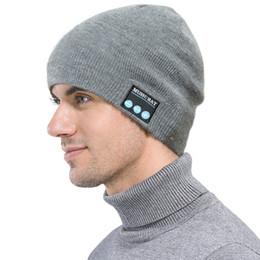 Wireless Usb Music Headphones Canada - Bluetooth Hat Music Beanie Cap Bluetooth V4.1 Stereo wireless Earphone Headphone Speaker Microphone Handsfree For IPhone 8 X Music Hat DHL