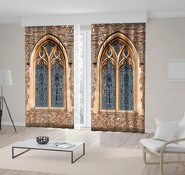 $enCountryForm.capitalKeyWord Australia - Stained Glass Window and Stone Walls of Antique Architecture Printed Beige Color Decorative Curtain