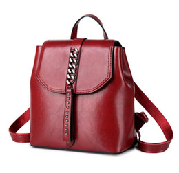 cool high school bags NZ - High Quality Genuine Leather Cowhide Women Chain Backpacks Ladies Bags Knapsack Casual School Preppy Style Cool Girl Handbag