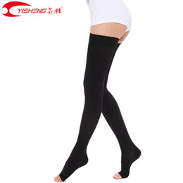 a3a1f801a YISHENG 15-21mmHg Women Medical Compression Thigh High Open Toe Compression  Stockings for Varicose Veins