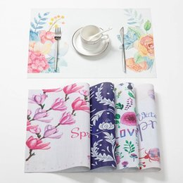 Modern Coasters Australia - Flower PVC Table Mats Modern Painting Placemats Eco-Friendly for Kitchen Table for Dining Bar Coffee Pad Coaster