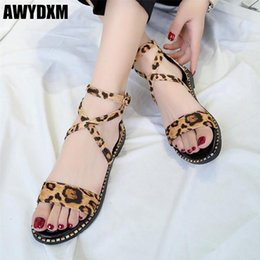 Crystal Heads Australia - Fashion woman sandals summer open toe buckle Leopard flat sandals ladies Round head Metal crystal casual shoes women shoes S113
