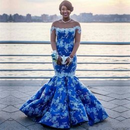 3062c96863f Elegant Royal Blue Mermaid Prom Dresses with Lace Appliques 2019 Illusion Long  Sleeve Plus Size South African Nigerian Evening Party Gowns
