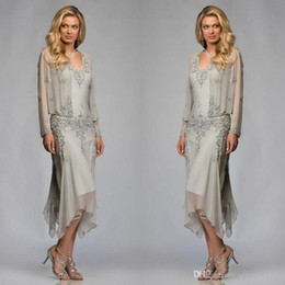 c64f34c57a8fd Elegant Gray Chiffon Mothers Dresses with Long Sleeve Jacket Tea Length Lace  Appliques Mother of the Bride Dresses Women Formal Dress