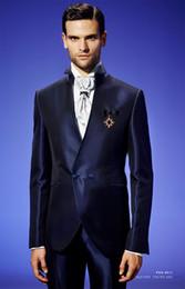 Satin Pant Suit NZ - Latest Coat Pant Designs Dark Blue Satin Men Suit Double Breasted Slim Fit 2 Piece Italian Tuxedo Custom Prom Blazer Masculino