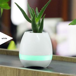 Office Speakers Australia - Creatives Touch Wireless Bluetooth Flowerpot Mini Subwoofer Speaker with LED Multiple Colors Home Smart Plant Office Mp3 Music Player