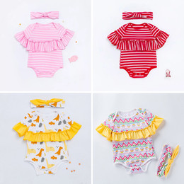 short hair styles girl NZ - New style two-piece baby jumpsuit with hair band cotton print stripe short sleeve girl jumpsuit kids 0-2 year old infant toddlers clothes