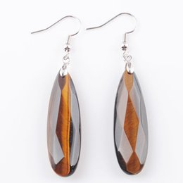 Tigers eye earrings online shopping - WOJIAER Natural Tiger s Eye Stone Earrings Reiki Gem Stone Beads Dangle Hook Drop Earring Vintage Faceted Polygon for Female Jewelry DR3197