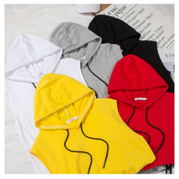 Wholesale muscle shirts resale online - 2019mens designer t shirt summer new vest men s muscle fitness Sweatshirt sleeveless solid color hooded cotton men s Sports Top WGTX202